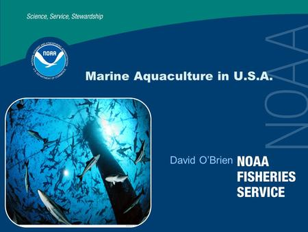 Marine Aquaculture in U.S.A. David O'Brien. 2 Today's Talk U.S. Aquaculture NOAA's Role Research Initiatives.