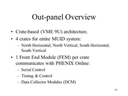 20 Out-panel Overview Crate-based (VME 9U) architecture. 4 crates for entire MUID system: –North Horizontal, North Vertical, South Horizontal, South Vertical.