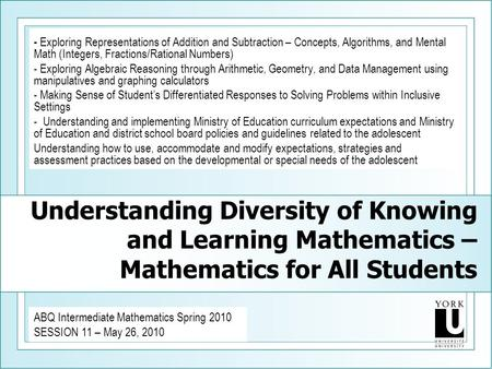 Understanding Diversity of Knowing and Learning Mathematics – Mathematics for All Students - Exploring Representations of Addition and Subtraction – Concepts,