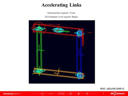 1 Accelerating Links Estimated time required: 20 min GUI familiarity level required: Higher MSC.ADAMS 2005 r2.