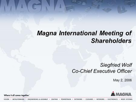 May 2, 2006 Siegfried Wolf Co-Chief Executive Officer Magna International Meeting of Shareholders.