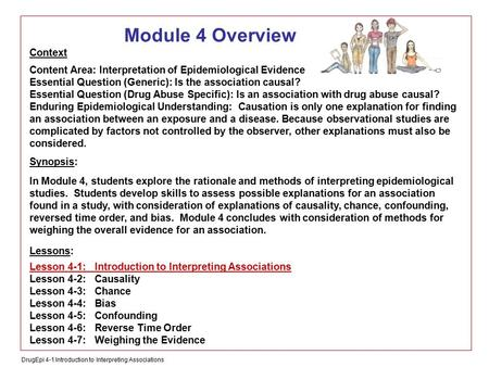 DrugEpi 4-1 Introduction to Interpreting Associations Module 4 Overview Context Content Area: Interpretation of Epidemiological Evidence Essential Question.