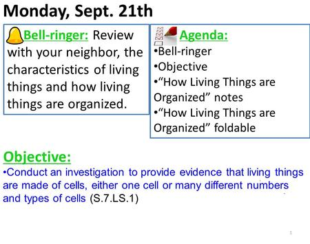 Monday, Sept. 21th 1 Bell-ringer: Review with your neighbor, the characteristics of living things and how living things are organized. Agenda: Bell-ringer.
