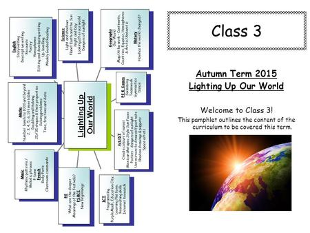 Class 3 Autumn Term 2015 Lighting Up Our World Welcome to Class 3! This pamphlet outlines the content of the curriculum to be covered this term. Music.
