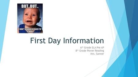 First Day Information 6 th Grade ELA Pre AP 8 th Grade Power Reading Mrs. Sanner.