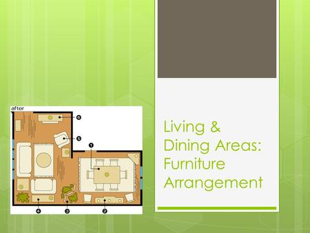 Living & Dining Areas: Furniture Arrangement. Family, Living or Great Rooms  Activities that commonly take place in living areas:  Conversation, recreation,