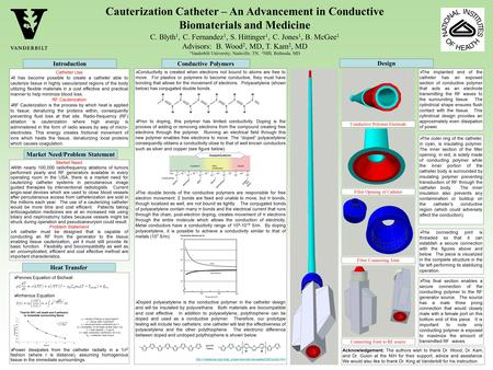 Cauterization Catheter – An Advancement in Conductive Biomaterials and Medicine C. Blyth 1, C. Fernandez 1, S. Hittinger 1, C. Jones 1, B. McGee 1 Advisors: