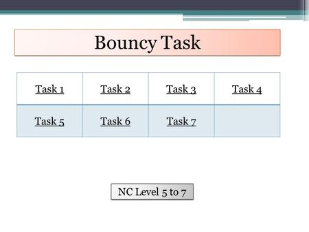 Bouncy Task Task 1Task 2Task 3Task 4 Task 5Task 6Task 7 NC Level 5 to 7.
