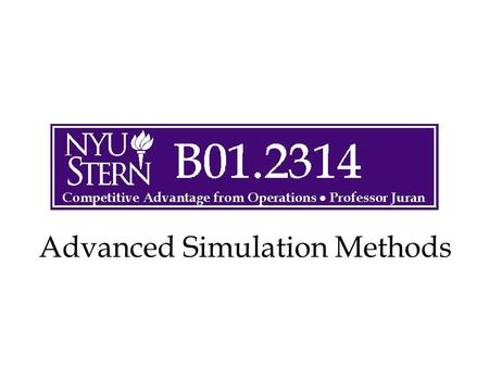 Advanced Simulation Methods. © The McGraw-Hill Companies, Inc., 2004 Operations -- Prof. Juran2 Overview Advanced Simulation Applications Beta Distribution.