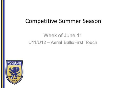 Competitive Summer Season Week of June 11 U11/U12 – Aerial Balls/First Touch.