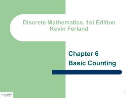 Discrete Mathematics, 1st Edition Kevin Ferland Chapter 6 Basic Counting 1.