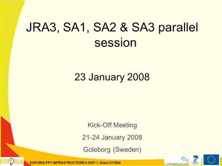 EUFORIA FP7-INFRASTRUCTURES-2007-1, Grant 211804 JRA3, SA1, SA2 & SA3 parallel session 23 January 2008 Kick-Off Meeting 21-24 January 2008 Goteborg (Sweden)