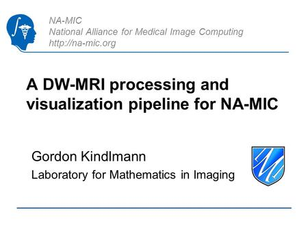 NA-MIC National Alliance for Medical Image Computing  A DW-MRI processing and visualization pipeline for NA-MIC Gordon Kindlmann Laboratory.