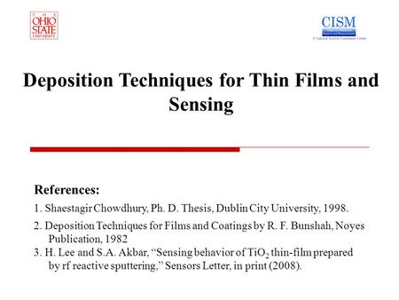 Deposition Techniques for Thin Films and Sensing