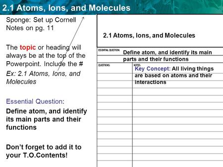 2.1 Atoms, Ions, and Molecules Sponge: Set up Cornell Notes on pg. 11 The topic or heading will always be at the top of the Powerpoint. Include the # Ex:
