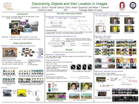 Discovering Objects and their Location in Images Josef Sivic 1, Bryan C. Russell 2, Alexei A. Efros 3, Andrew Zisserman 1 and William T. Freeman 2 Goal: