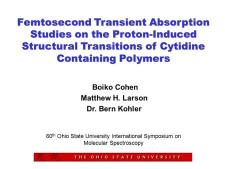 Femtosecond Transient Absorption Studies on the Proton-Induced Structural Transitions of Cytidine Containing Polymers Boiko Cohen Matthew H. Larson Dr.
