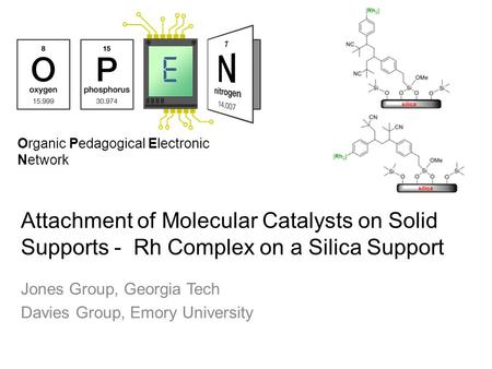 Organic Pedagogical Electronic Network Attachment of Molecular Catalysts on Solid Supports - Rh Complex on a Silica Support Jones Group, Georgia Tech Davies.