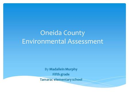 Oneida County Environmental Assessment By Madailein Murphy Fifth grade Tamarac elementary school.