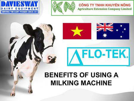 "BENEFITS OF USING A MILKING MACHINE. More Natural Milking machines use vacuum to ""suck"" the milk from the cow, the same as a calf. ="