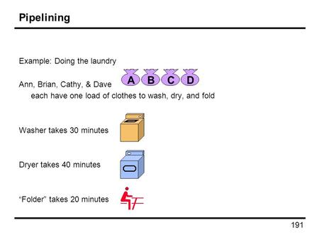 191 Pipelining Example: Doing the laundry Ann, Brian, Cathy, & Dave each have one load of clothes to wash, dry, and fold Washer takes 30 minutes Dryer.