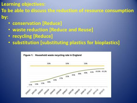 Learning objectives: To be able to discuss the reduction of resource consumption by: conservation [Reduce] waste reduction [Reduce and Reuse] recycling.