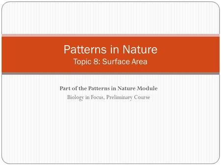 Patterns in Nature Topic 8: Surface Area
