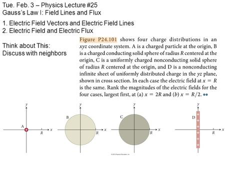 Tue. Feb. 3 – Physics Lecture #25 Gauss's Law I: Field Lines and Flux 1. Electric Field Vectors and Electric Field Lines 2. Electric Field and Electric.