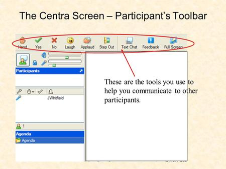 The Centra Screen – Participant's Toolbar These are the tools you use to help you communicate to other participants.