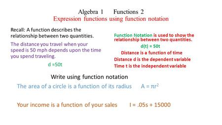 Algebra 1 Functions 2 Expression functions using function notation Recall: A function describes the relationship between two quantities. The distance you.