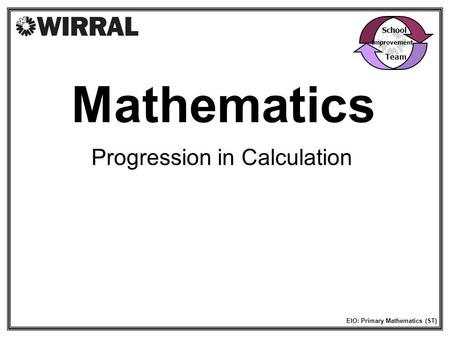 Mathematics Progression in Calculation School Team Improvement