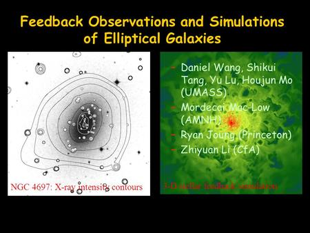 Feedback Observations and Simulations of Elliptical Galaxies –Daniel Wang, Shikui Tang, Yu Lu, Houjun Mo (UMASS) –Mordecai Mac-Low (AMNH) –Ryan Joung (Princeton)
