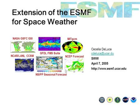 Extension of the ESMF for Space Weather Cecelia DeLuca  SWW April 7, 2005  NSIPP Seasonal Forecast.