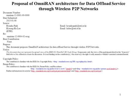Proposal of OmniRAN architecture for Data Offload Service through Wireless P2P Networks Document Number: omniran-13-0001-00-0000 Date Submitted: 2013-01-08.