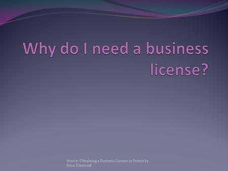 Source: Obtaining a Business License or Permit by Erica Diamond.