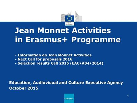 Jean Monnet Activities in Erasmus+ Programme - Information on Jean Monnet Activities - Next Call for proposals 2016 - Selection results Call 2015 (EAC/A04/2014)