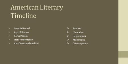 anti transcendentalism in the literary works College prep english iii what is the difference between romanticism and transcendentalism and literary works of this genre are often concerned with the.