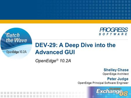 DEV-29: A Deep Dive into the Advanced GUI OpenEdge ® 10.2A Shelley Chase OpenEdge Architect Peter Judge OpenEdge Principal Software Engineer.