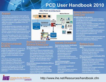 PCD User Handbook 2010 Purpose The Handbook is designed to help healthcare professionals implement IHE on a new clinical system purchase or upgrade an.
