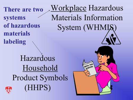 Workplace Hazardous Materials Information System (WHMIS) Hazardous Household Product Symbols (HHPS) There are two systems of hazardous materials labeling.