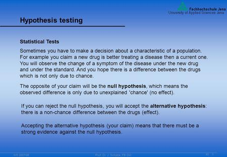 WS 2007/08Prof. Dr. J. Schütze, FB GW KI 1 Hypothesis testing Statistical Tests Sometimes you have to make a decision about a characteristic of a population.