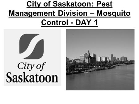 City of Saskatoon: Pest Management Division – Mosquito Control - DAY 1.