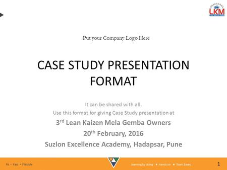 case study presentation format Case study format each case study will consist of four portions: history of the case physical therapy evaluation description of all of the physical therapy treatments.