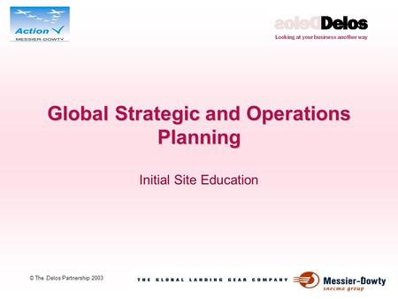 1 © The Delos Partnership 2003 Global Strategic and Operations Planning Initial Site Education.