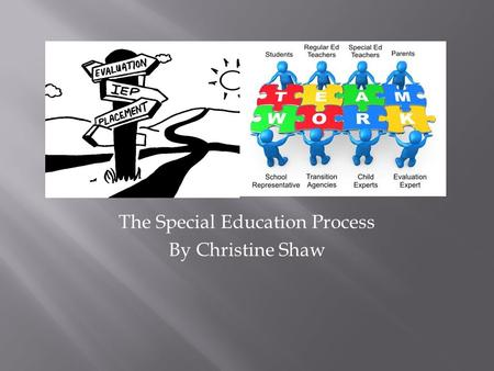 "The Special Education Process By Christine Shaw.  Anyone can make a referral (ages 2.5-21).  Referral received in writing.  School has 15 days to ""dispose"""