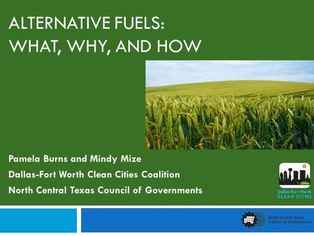 ALTERNATIVE FUELS: WHAT, WHY, AND HOW Pamela Burns and Mindy Mize Dallas-Fort Worth Clean Cities Coalition North Central Texas Council of Governments.