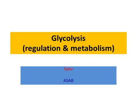 Glycolysis (regulation & metabolism) Tahir ASAB. enzymic reactions Organized pathways metabolism catabolic anabolic.