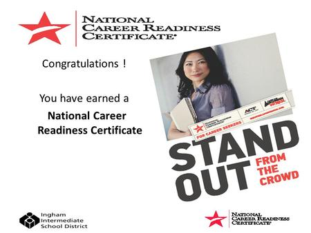 Congratulations ! You have earned a National Career Readiness Certificate.