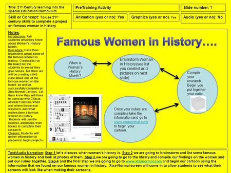 Notes: Introduction: Ask students what they know about Women's History Month. Procedure: Have them brainstorm about some of the famous women in history.