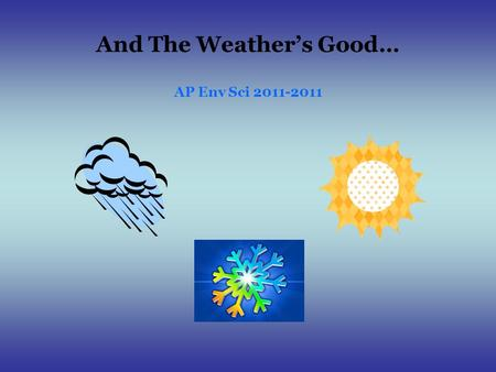 And The Weather's Good… AP Env Sci 2011-2011. Weather Basics – and a little more Air Takes on the Temperature and Moisture Characteristics of the Surface.